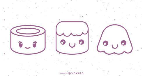 Conjunto de desenhos de personagens
