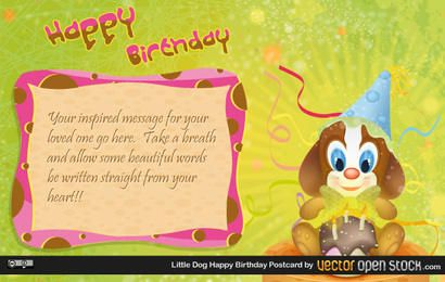 little dog happy birthday postcard