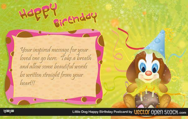 little dog happy birthday postcard