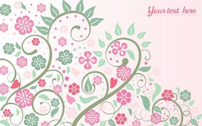 Fondo floral rosa con remolinos y hojas