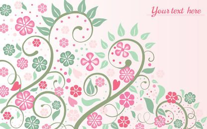 Pink Floral Background with Swirls and Leaves
