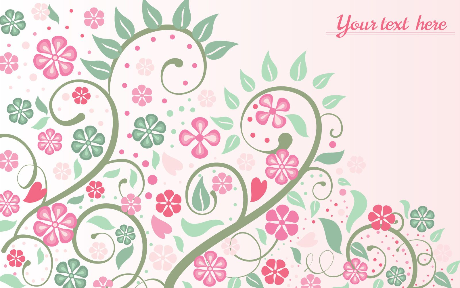 Pink floral background with swirls and leaves vector download - Floral background ...