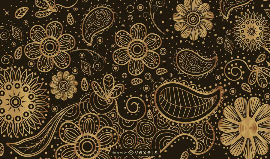 Golden Paisley Background