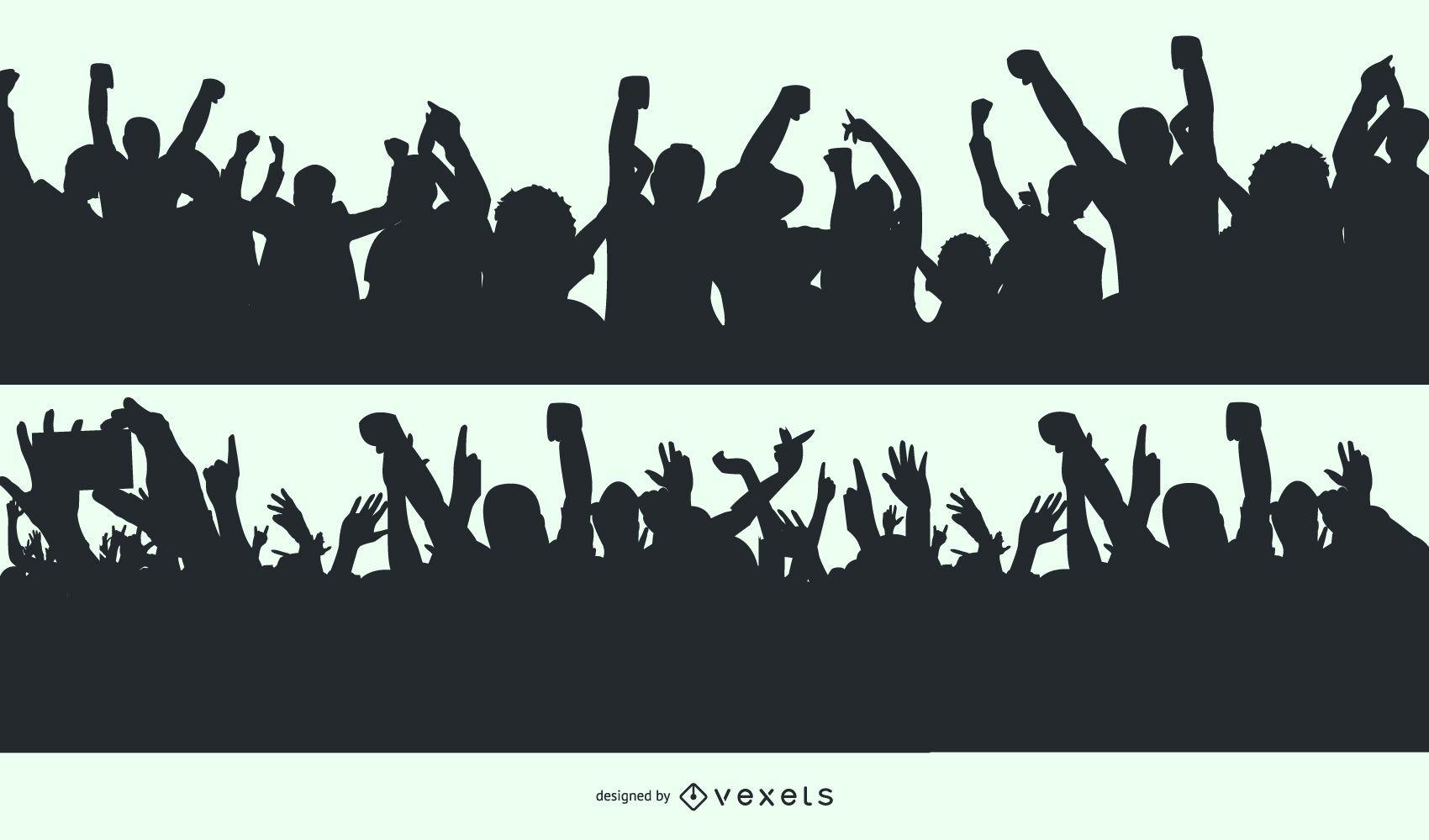 Cheering Crowd Silhouette Designs