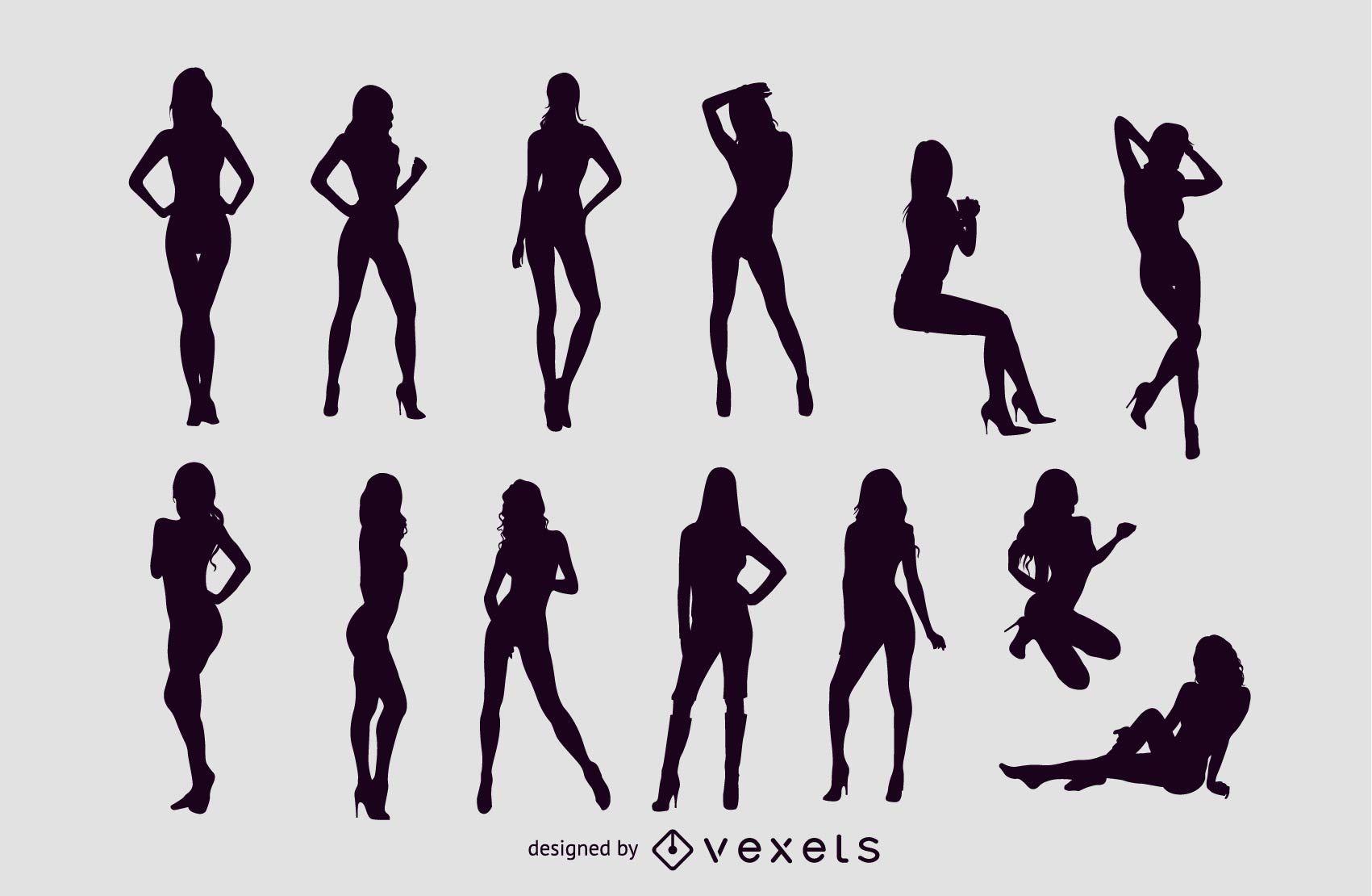 Vector libre de siluetas de chicas sexy