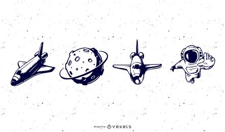 Pacote de vetores de espaço feliz