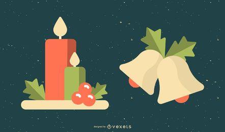 Vectores de Navidad de velas y campanas