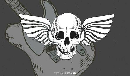 Cráneo de alas vintage