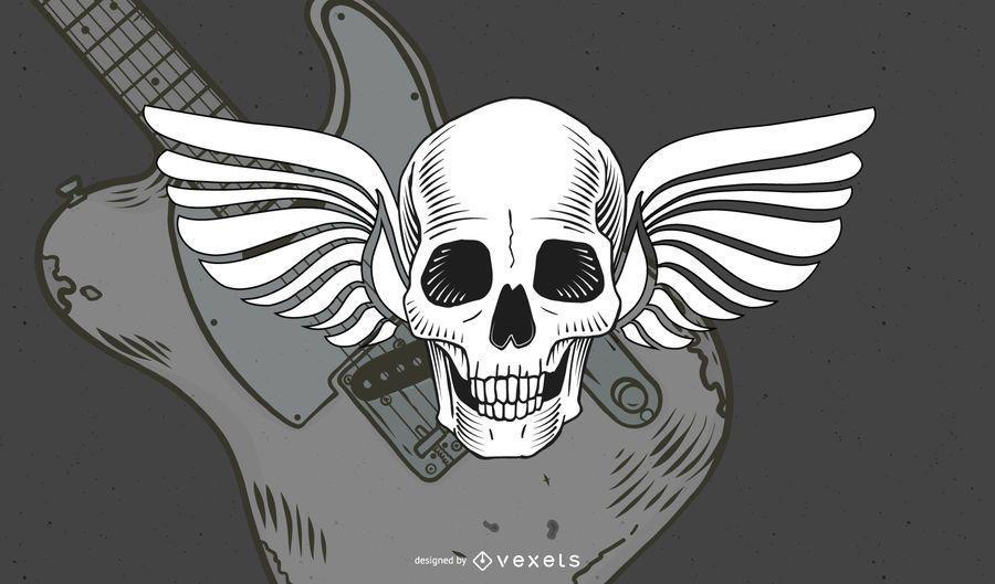 Vintage Winged Skull