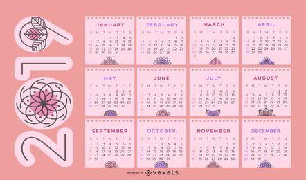 Kalenderentwurf 2019 mit Blumenmotiven