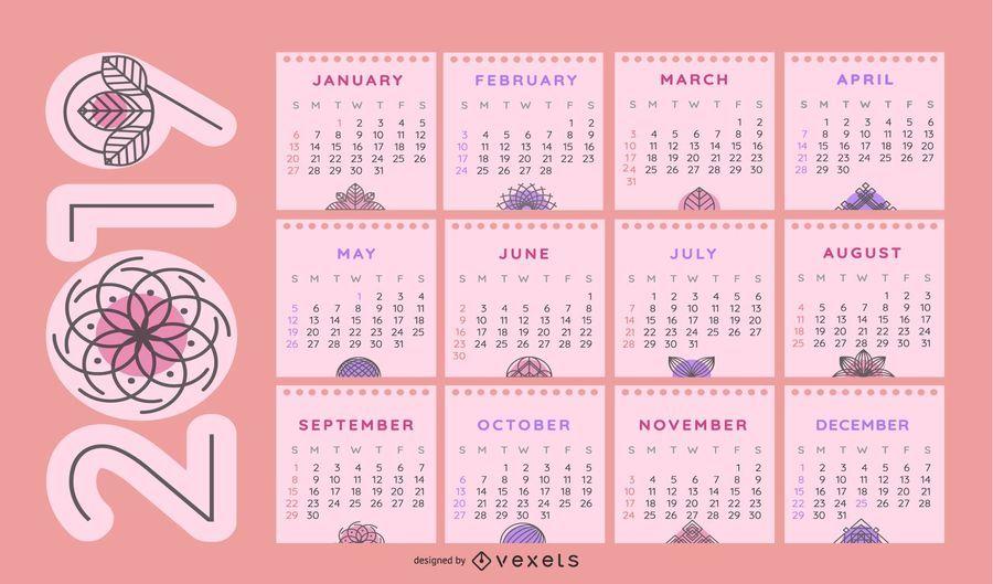 Floral themed 2019 Calendar Design