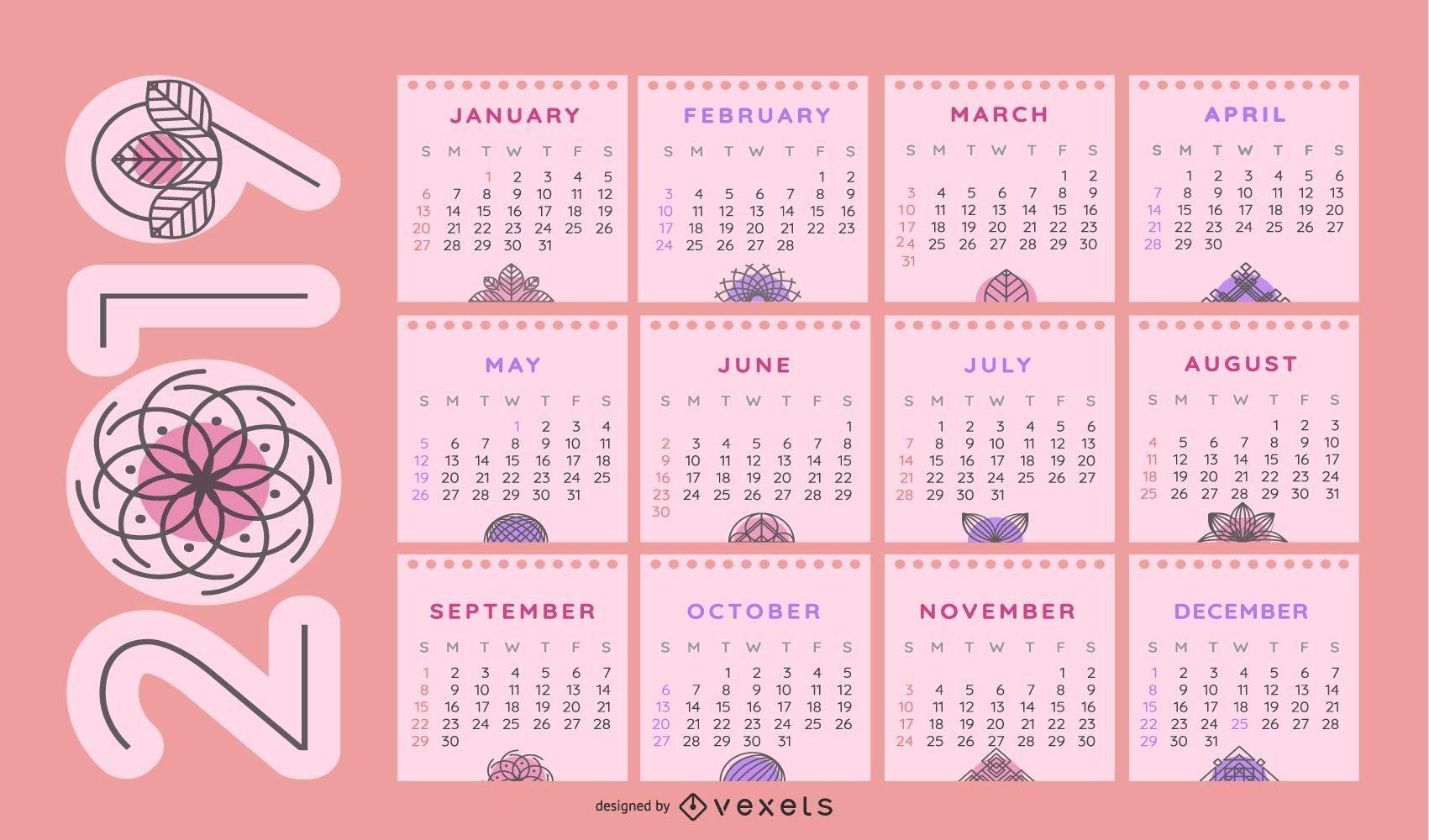 Diseño de calendario de temática floral 2019