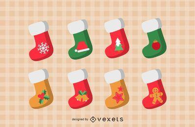 Conjunto de iconos de calcetines de Navidad