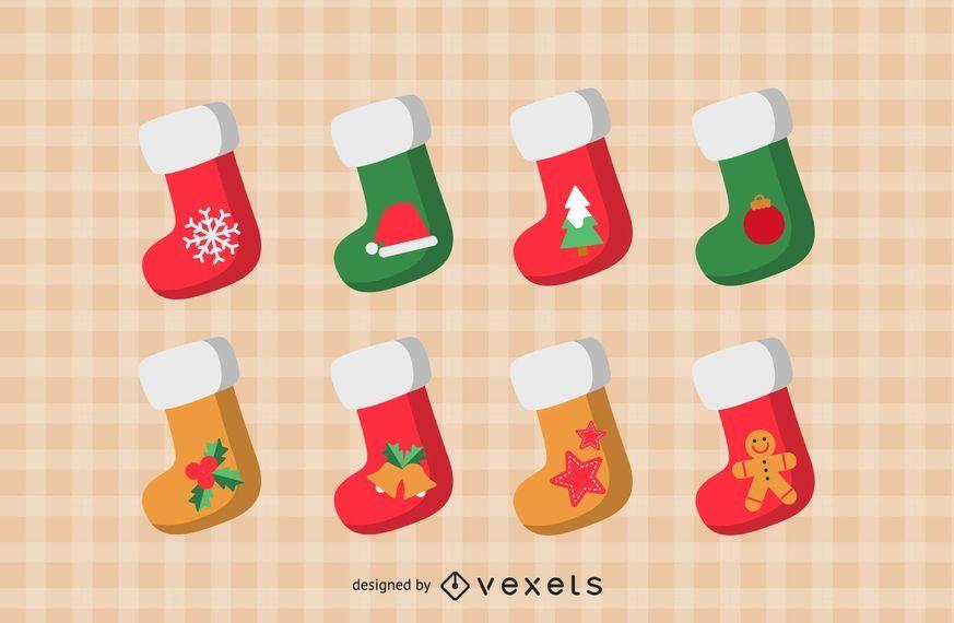 Conjunto de ícones de meias de Natal