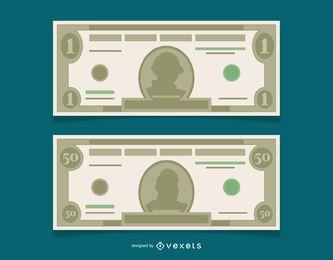 Notas de dólar grátis de vetor