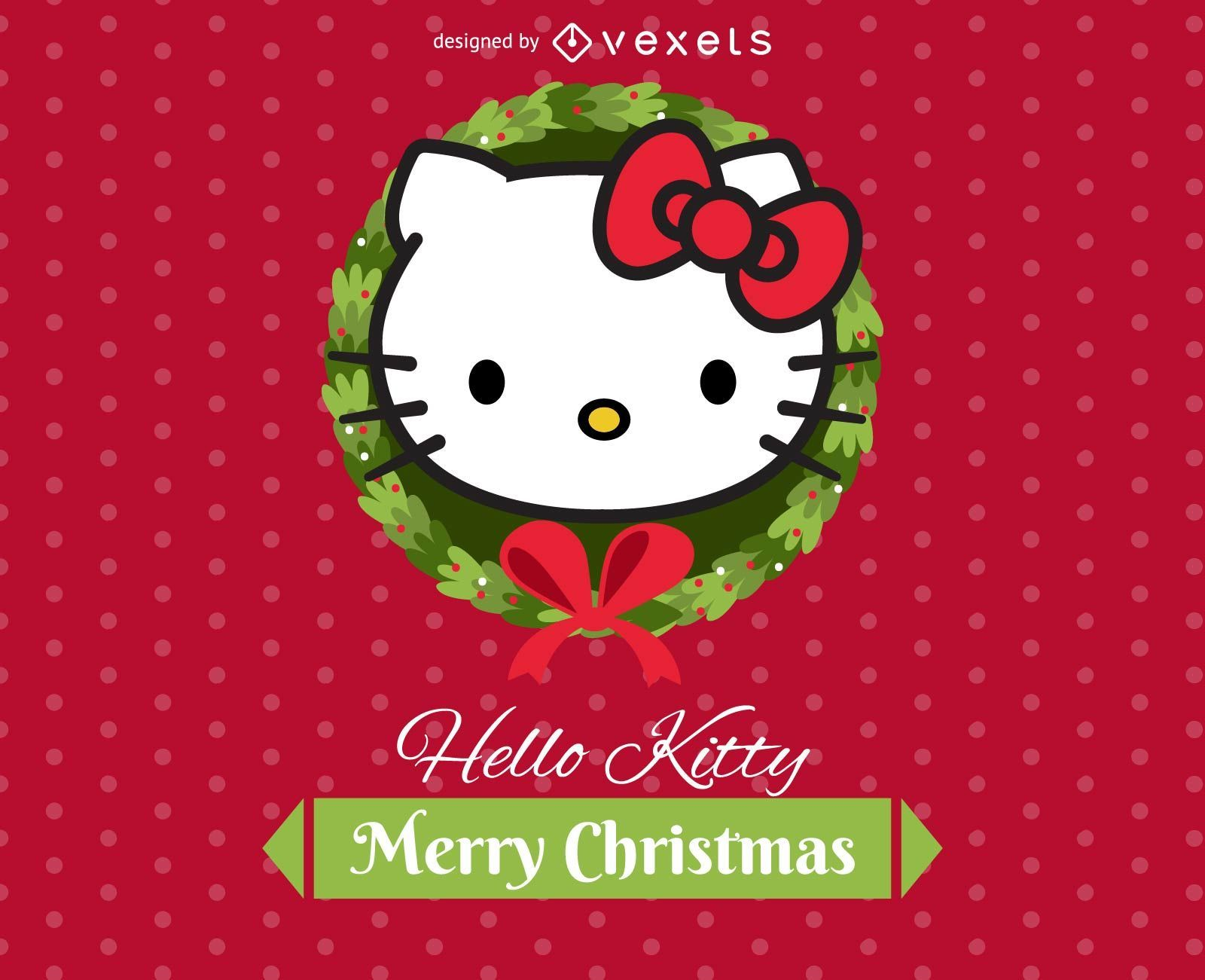 Hello Kitty Merry Christmas.Hello Kitty Mini Ecard Vector Download