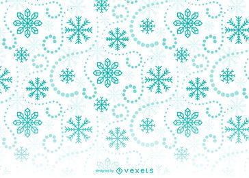 Patrón de fondo de copos de nieve verde