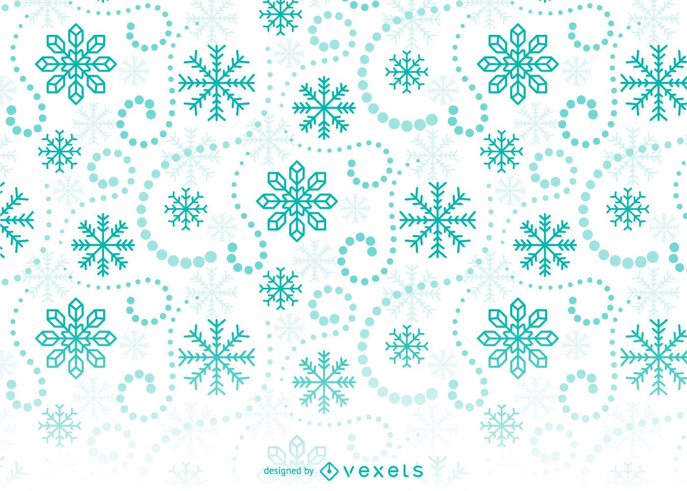 Green Snowflakes Background Pattern - Vector download