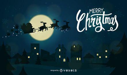 Imagem vetorial de cartão de natal com papai noel