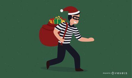 Ladrón con regalo de navidad