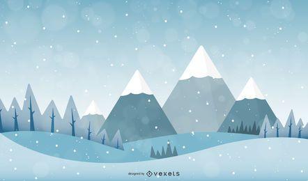 Vector paisaje de nieve