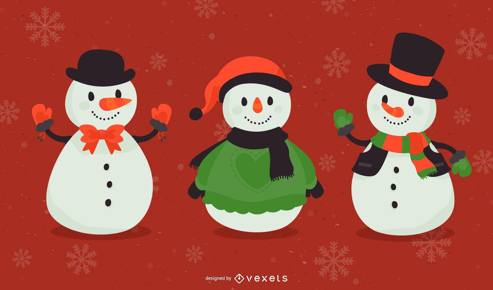 Vectores de muñeco de nieve escarchado
