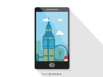 Diseño de pantalla de viaje para smartphone.