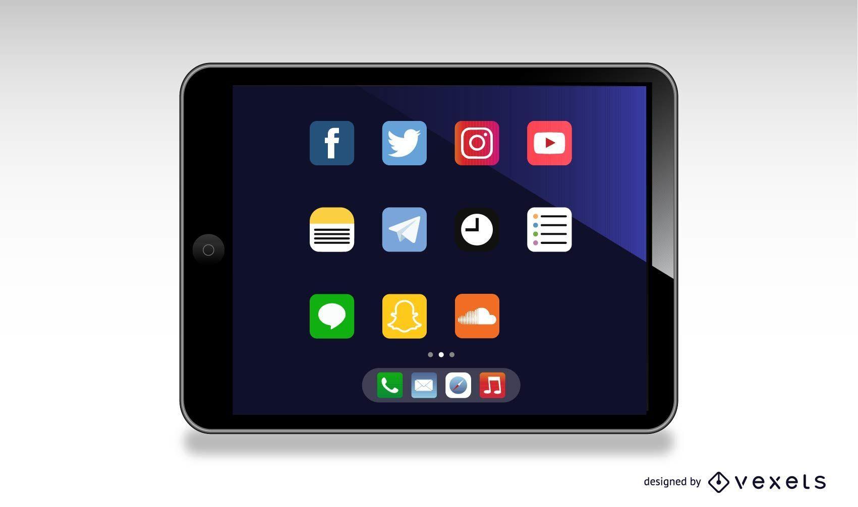 Ilustración de tableta ipad
