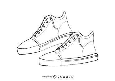 Áspero, dibujado a mano ilustrado zapatillas de deporte