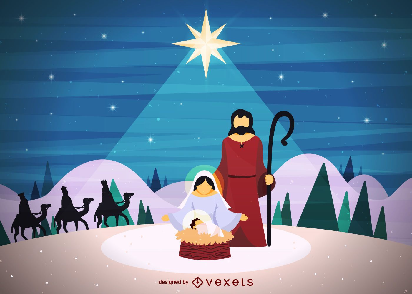 Christmas Nativity.Christmas Nativity Scen Vector Download