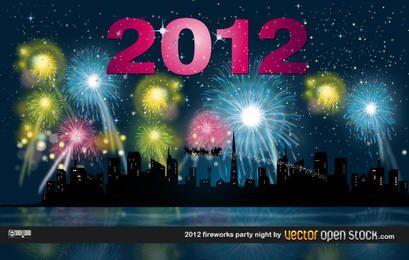 Noche de fiesta de fuegos artificiales 2012