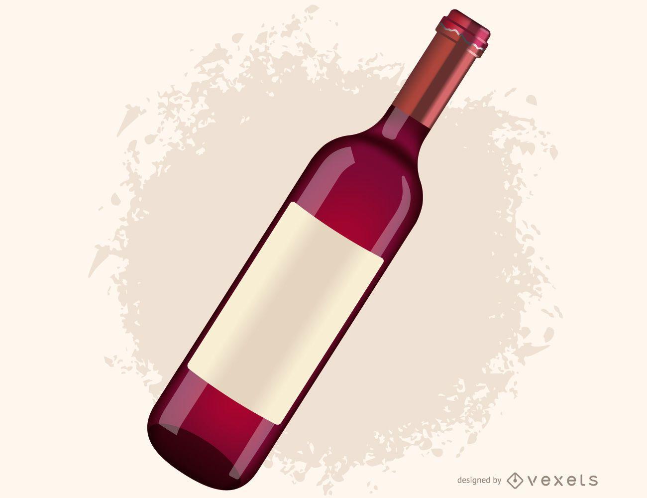 Vector de botella de vino tinto