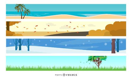 4 Seasons illustration Design