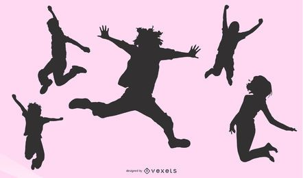 Jumping People Silhouette Set