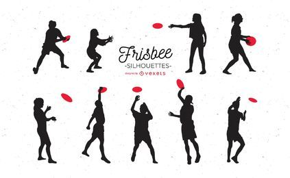Conjunto de silhuetas de frisbee