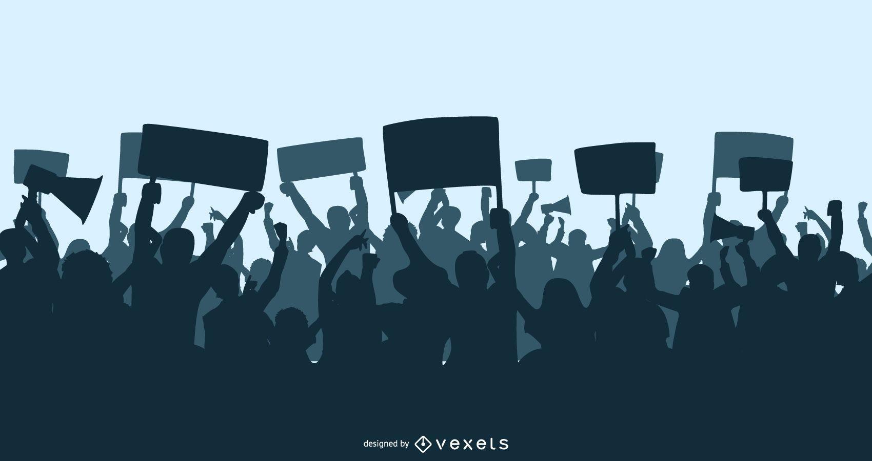 Multidão de silhuetas de demonstração em massa