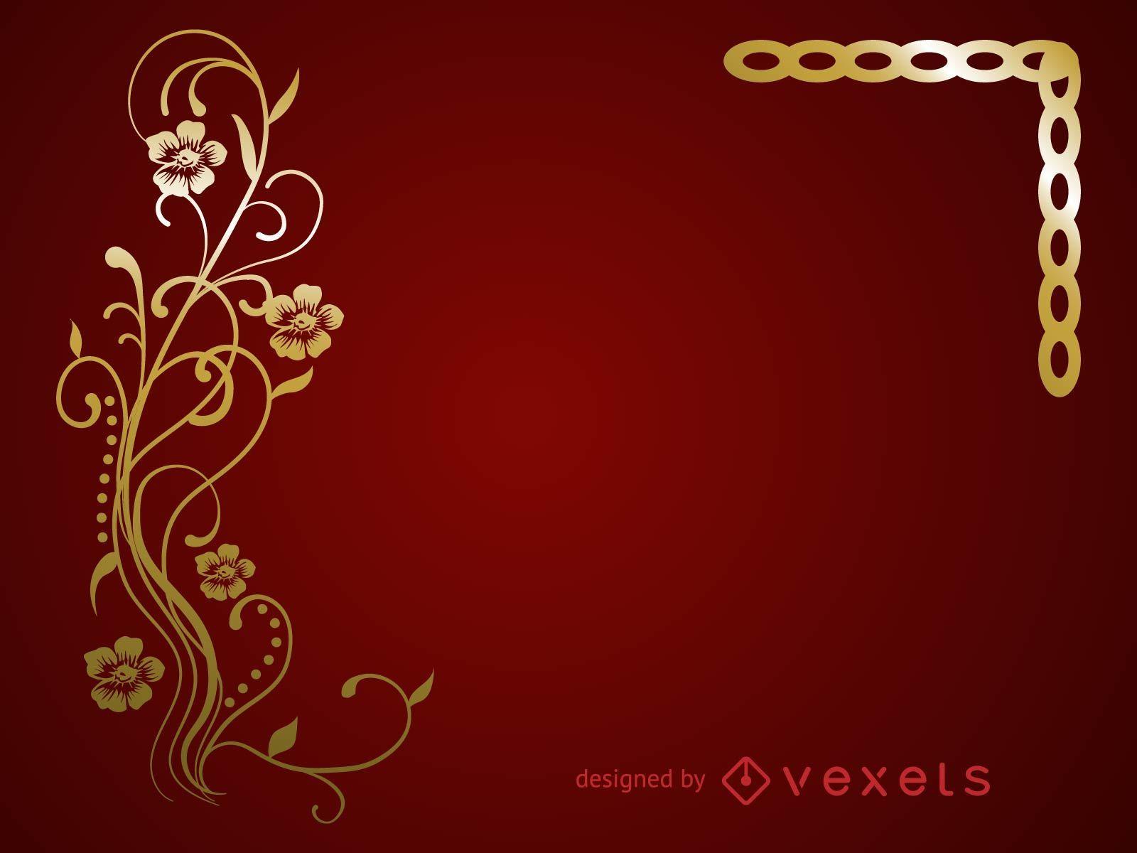 Golden Floral Vector Frame