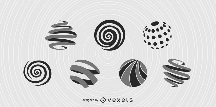 7 esferas de vectores en espiral gratis