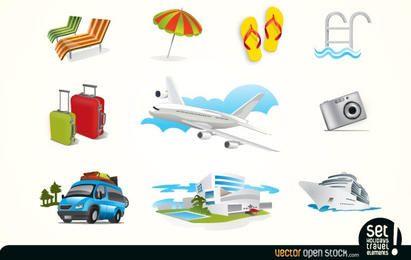 Iconos de elementos de viaje de vacaciones