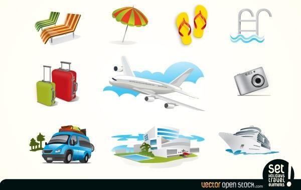 Icons für Urlaubsreiseelemente