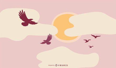 Aves volando fondo
