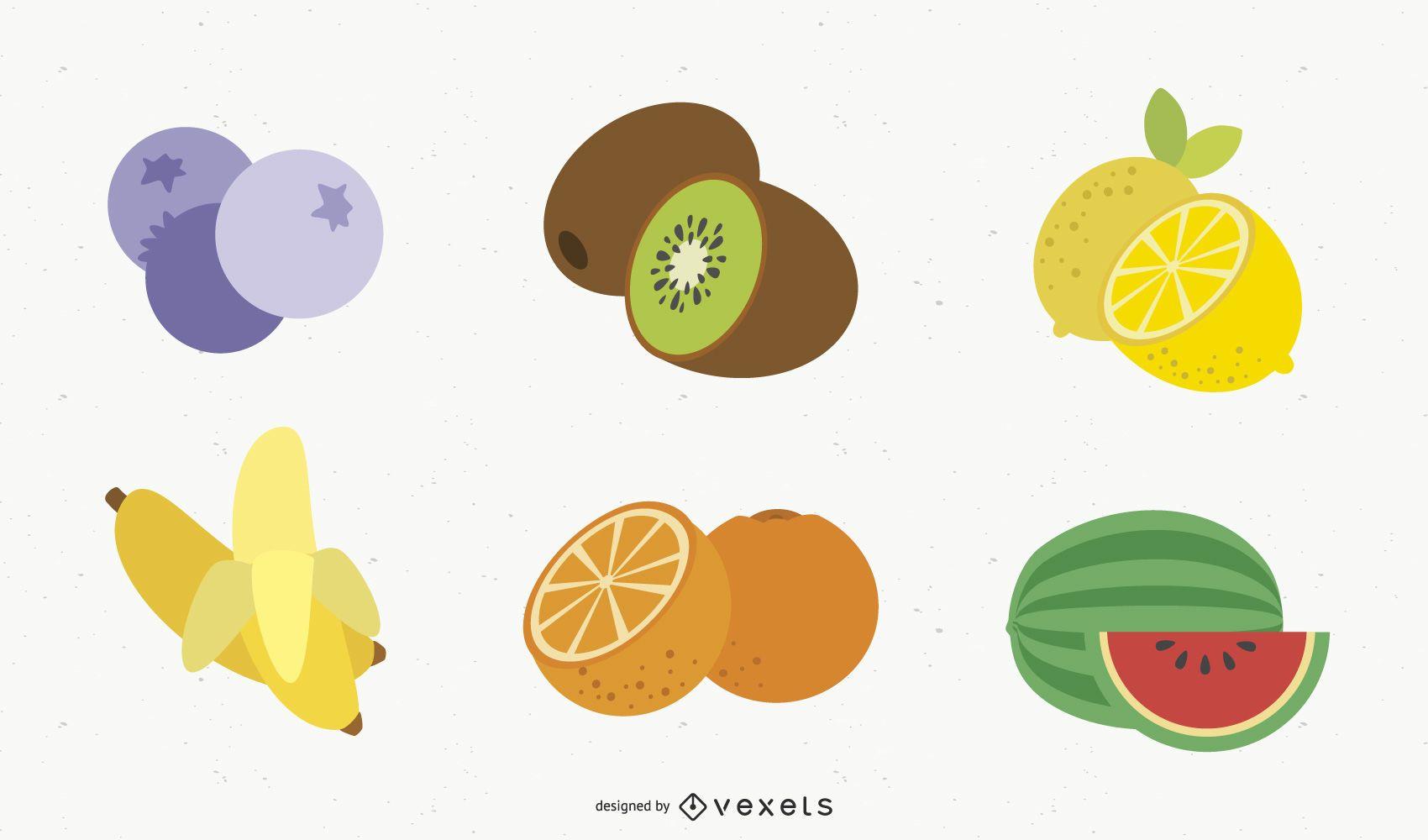 Ícones de frutas de vetor grátis