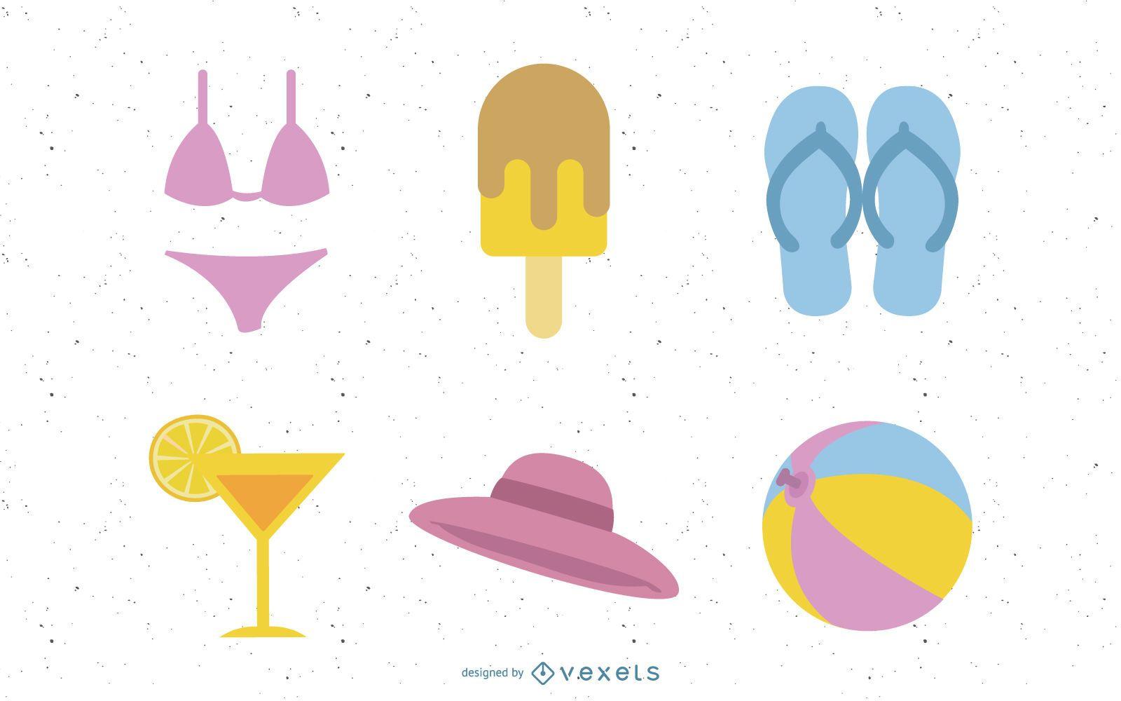 Iconos vectoriales de verano y cosas divertidas