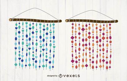 Vector de cortina de conchas de Capiz