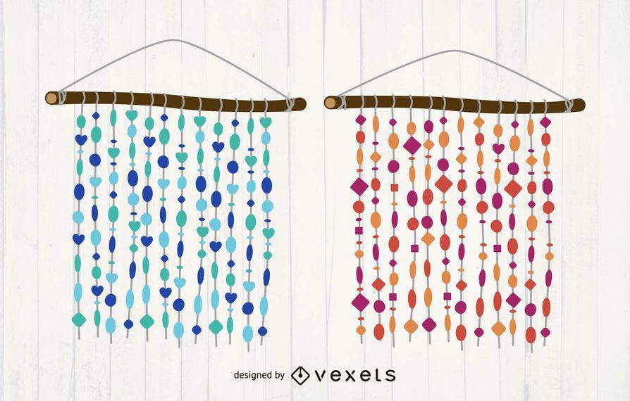 Vector de cortina de capiz conchas