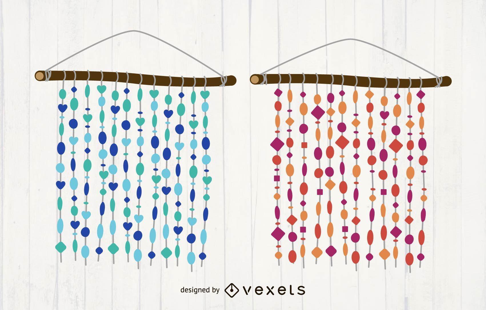 Capiz Shells Curtain Vector