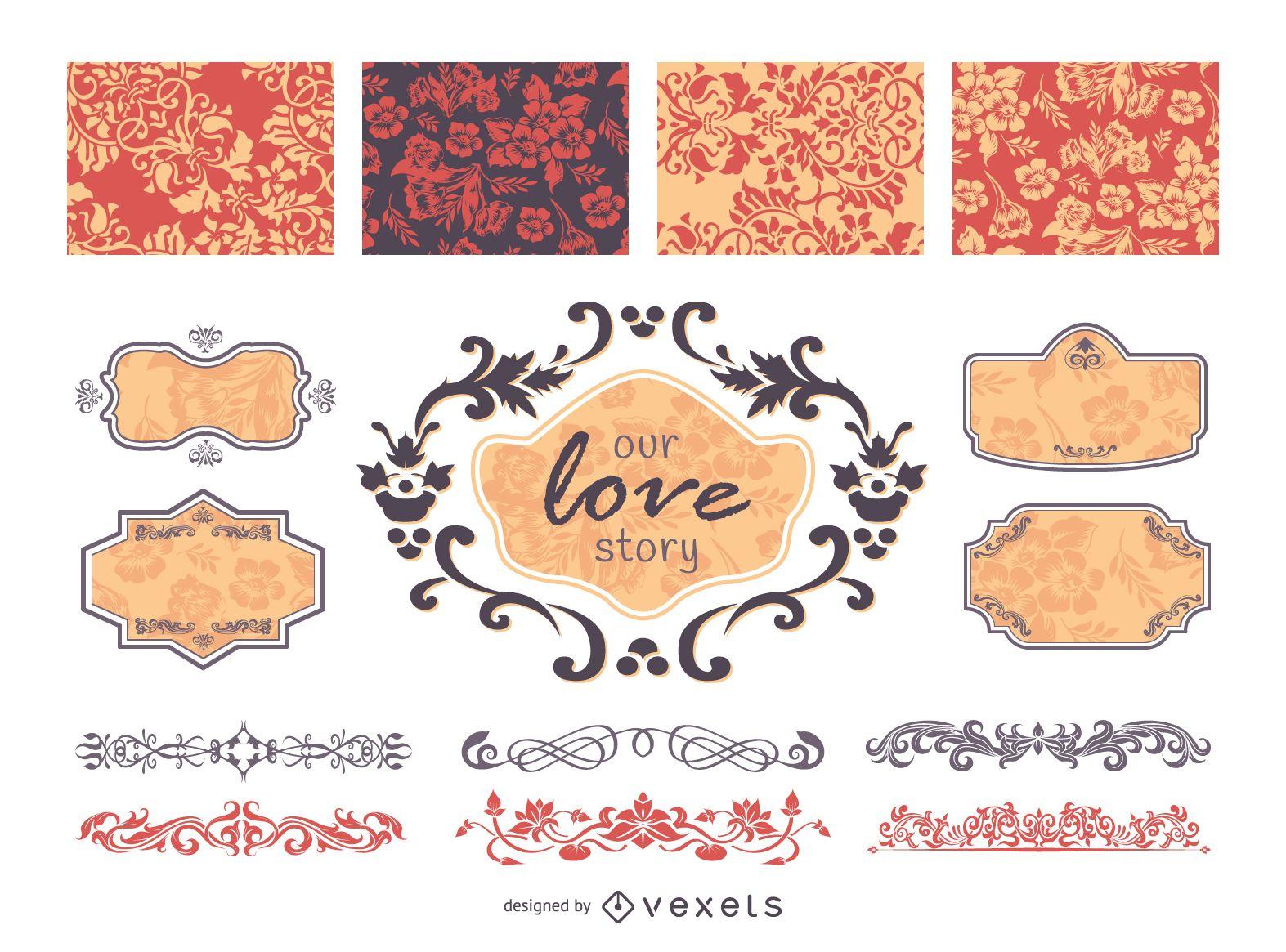 Vector de elementos y marcos decorativos de boda vintage