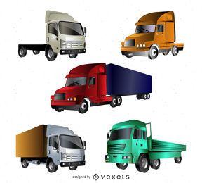 Conjunto de caminhões de vetor