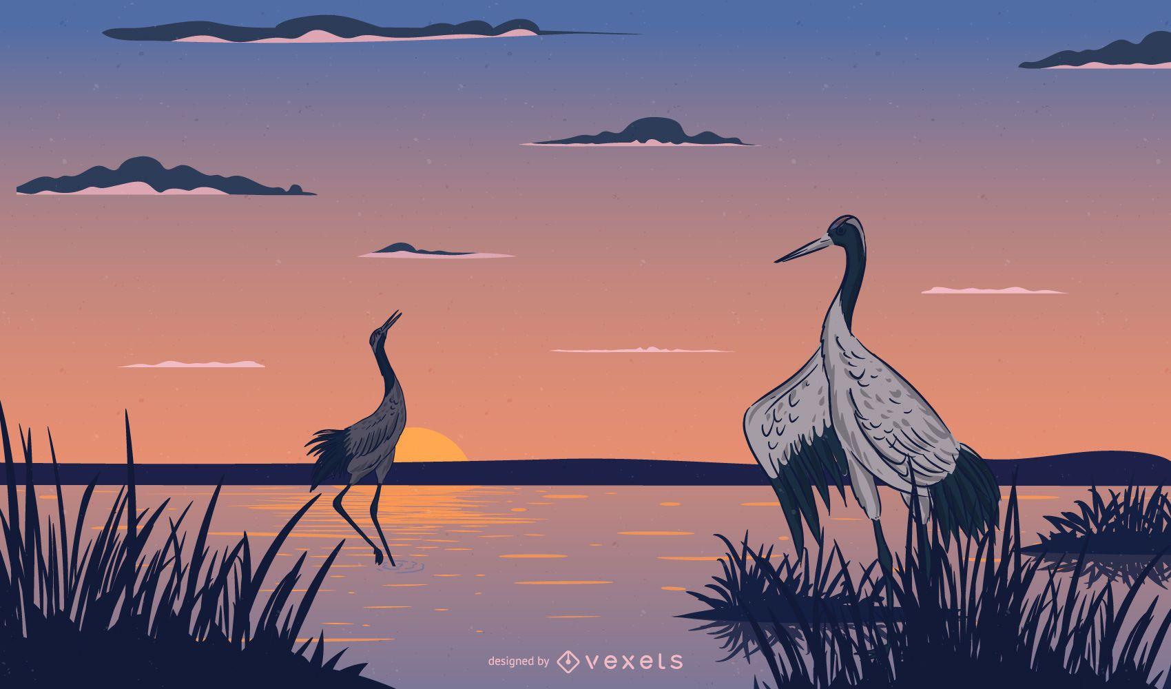Two Herons Resting
