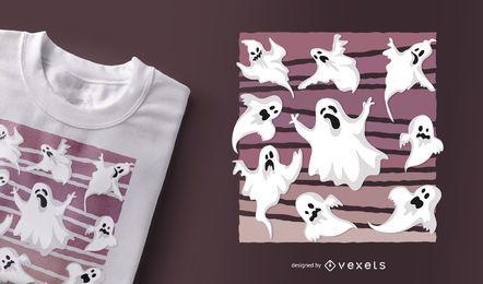 Projeto do t-shirt dos fantasmas o Dia das Bruxas